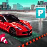 Piros autós parkolós játék